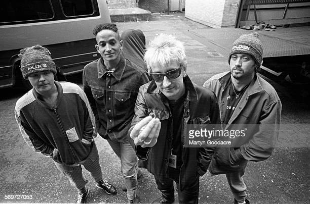 Pop Will Eat Itself group portrait on the Amalgamation Tour United Kingdom 1994 LR Graham Crabb Fuzz Townsend Clint Mansell and Adam Mole