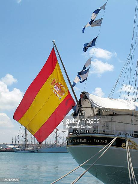 Popa with a Spanish flag Spanish school La Goleta Juan Sebastian de Elcano Class A of 1927 on July 29 2012 in Cadiz Spain