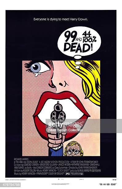 A popart style poster for John Frankenheimer's 1974 action film '99 and 44/100% Dead' starring Richard Harris