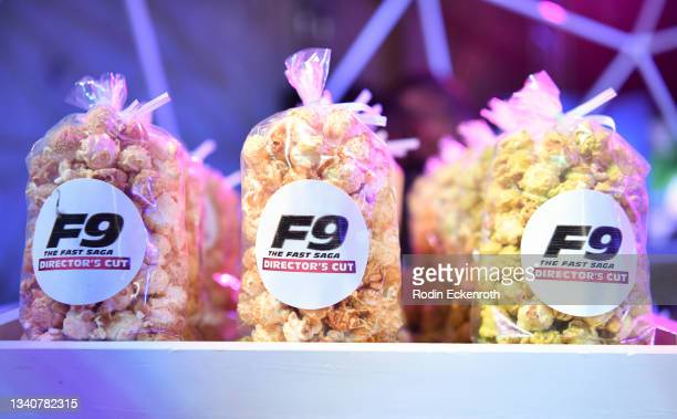Popcorn at the F9 Fest event on the Universal Studios backlot celebrating F9: The Fast Saga on September 15, 2021 in Universal City, California. The...