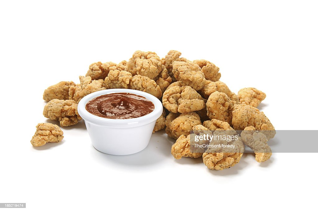 Popcorn Chicken with Barbecue Sauce : Stock Photo