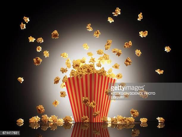 Popcorn exploding from bucket