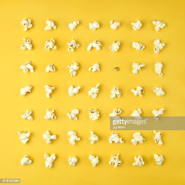Popcorn in a grid on yellow