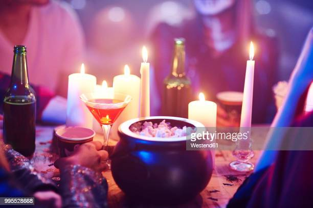 popcorn on table at a halloween party - halloween party stock photos and pictures