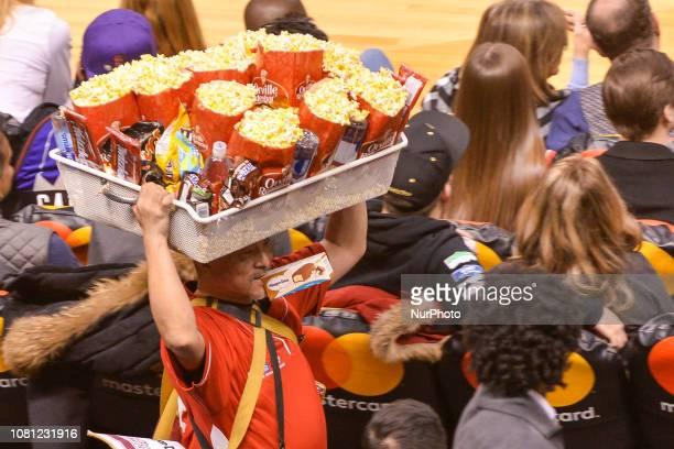 popcorn peddler during the Toronto Raptors vs Brooklyn Nets NBA regular season game at Scotiabank Arena on January 11 in Toronto Canada