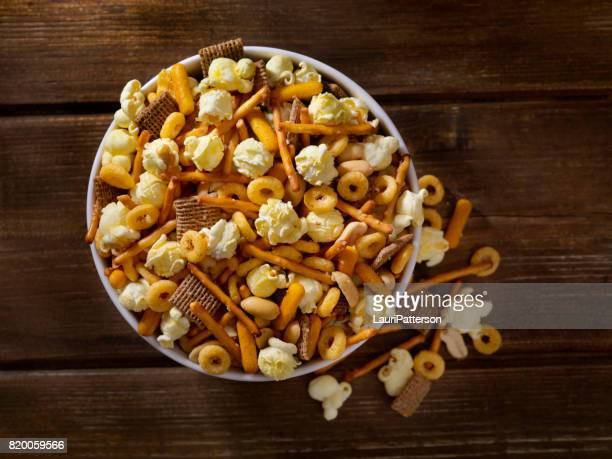 popcorn snack mix - snack stock pictures, royalty-free photos & images