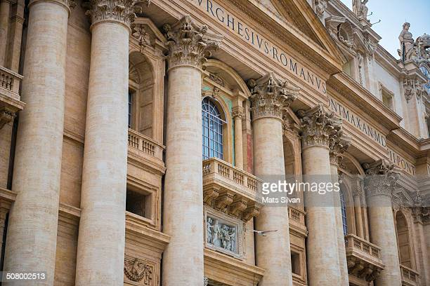 Pope balcony and Basilica di San Pietro in Vatican City, Italy.