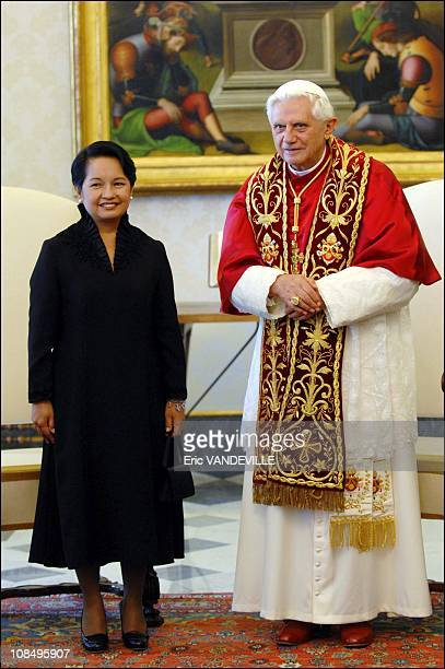 Pope Benedict received Philippine President Gloria Macapagal Arroyo during an official meeting at the Vatican. Arroyo, seeking to shore up support...