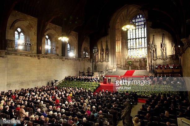 Pope Benedict XVI addreses guests at Westminster Hall on September 17, 2010 in London, United Kingdom. During the four day state visit Pope Benedict...
