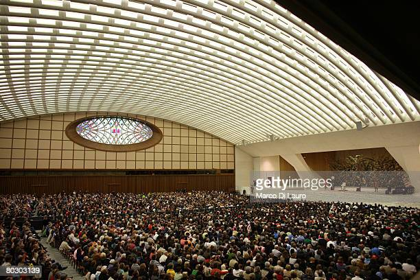 Pope Benedict XVI addresses his audience during his weekly audience in the Paul VI Hall on March 19 in Vatican City The Pontiff called for dialogue...