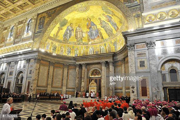 Pope Benedict XVI and the patriarch of the Greek church Bartholomaios I celebrate the St Paul first Vespers prayer at the Rome's Basilica of St...
