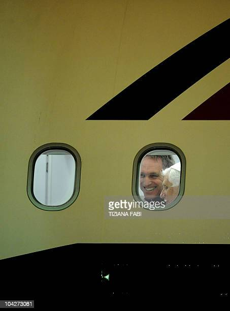 Pope Benedict XVI and with his personal secretary Bishop Georg Gaenswein arrive at Rome's Ciampino military airport on September 19 2010 after a...