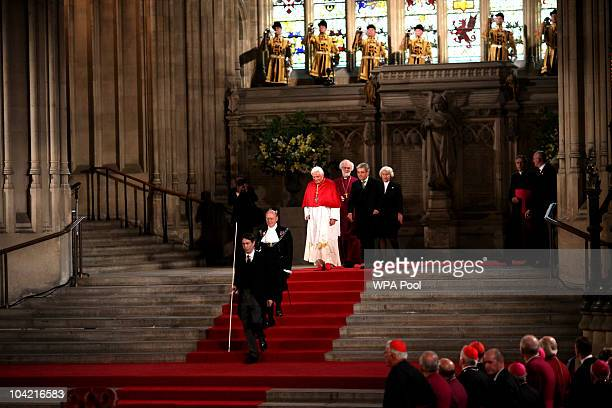Pope Benedict XVI arrives at Westminster Hall led by Black Rod at Westminster Hall on September 17, 2010 in London, United Kingdom. During the four...
