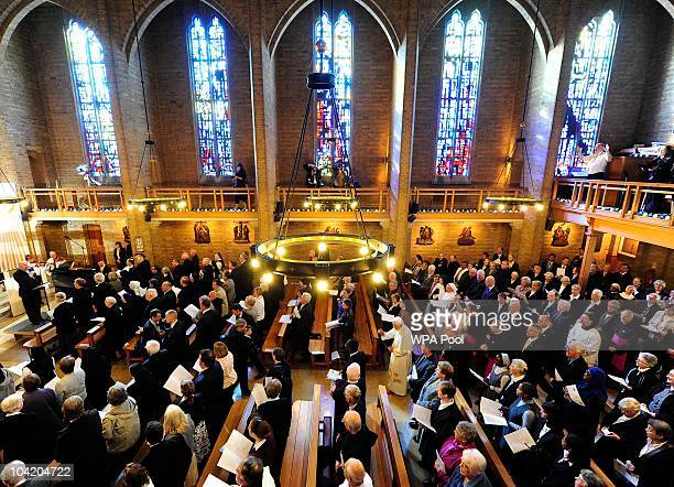 Pope Benedict XVI arrives for a service of prayer at St Mary's University College Chapel during day two of his four day state visit at Twickenham on...