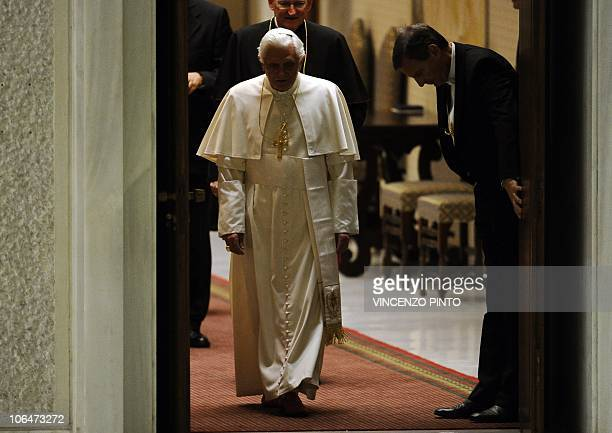 Pope Benedict XVI arrives for his weekly general audience on November 3, 2010 at the Paul VI hall at the Vatican. Pope Benedict XVI said he was...