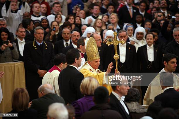 Pope Benedict XVI arrives to attend the Feet Washing Ceremony at the StJohn in Laterano Basilica on March 20 2008 in Rome Italy Pope Benedict on...