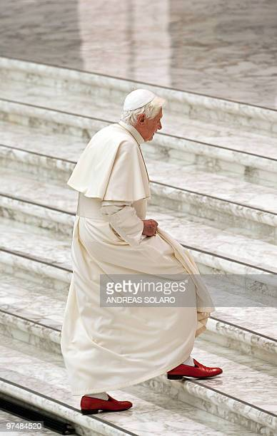 Pope Benedict XVI arrives to meet with the Head of the Italian Civil Protection Guido Bertolaso during an Audience with volunteers of the Italian...