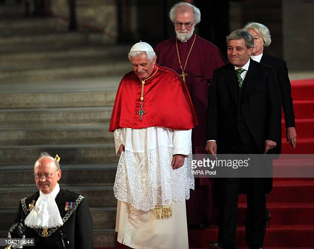 Pope Benedict XVI arrives with Speaker of the House John Bercow and Black Rod with Archbishop Rowan Williams behind at Westminster Hall on September...