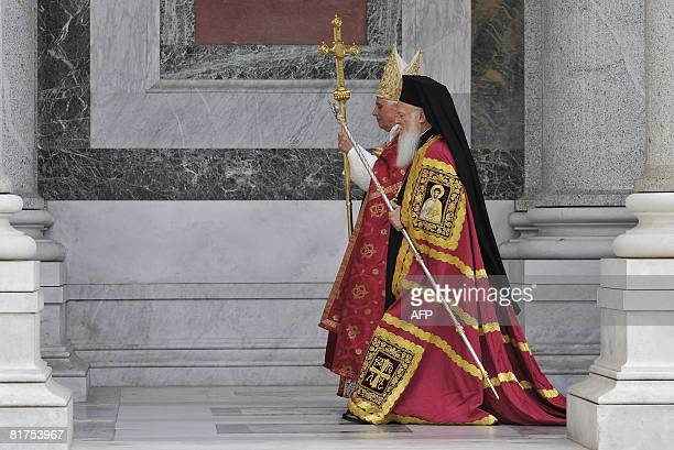 Pope Benedict XVI arrives with the patriarch of the Greek church Bartholomaios I for the St Paul first Vespers prayer at the Rome's Basilica of St...