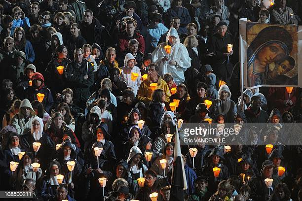 Pope Benedict XVI assists at the Marian Procession of Light at the Rosary Basilica or Basilique Notre-Dame du Rosaire in Lourdes, South of France on...