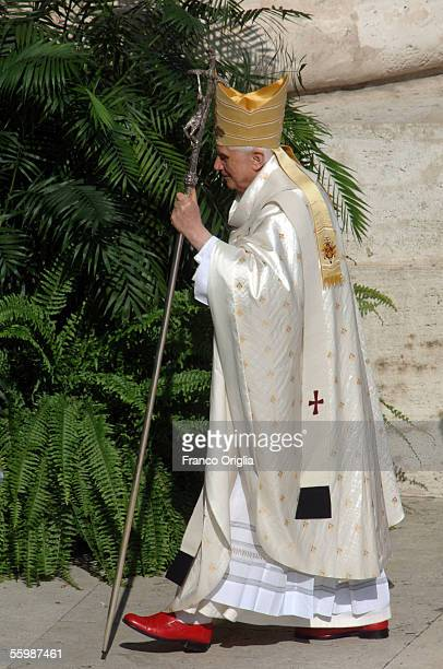 Pope Benedict XVI attends a canonization ceremony in St. Peter's Square October 23, 2005 in Vatican City. Pope Benedict XVI named five Catholics on...