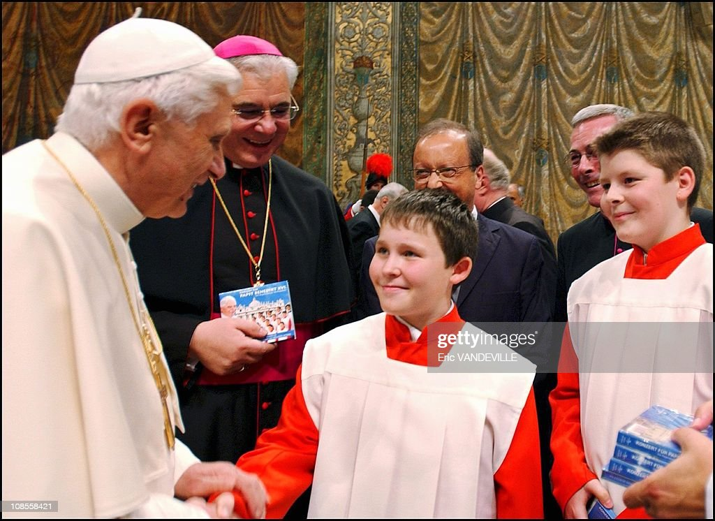 Pope Benedict XVI attends a concert by the Regensburger Domspatzen boys choir with his brother Georg Ratzinger at the Sistine Chapel in the Vatican in Rome, Italy on October 22nd, 2005. : News Photo