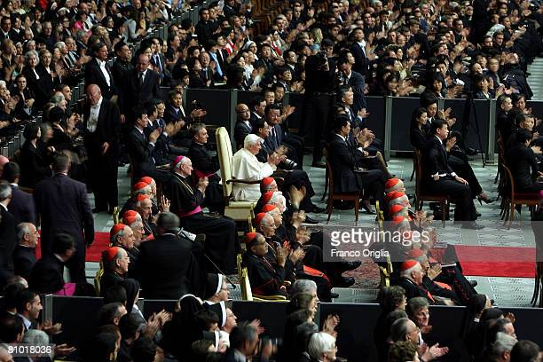 Pope Benedict XVI attends a concert of the Chinese Philharmonic Orchestra at the Paul VI Hall on May 7 2008 in Vatican City Vatican Benedict XVI