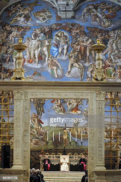 Pope Benedict XVI attends a meeting with the artists at the Sistine Chapel on November 21 2009 in Vatican City Vatican Around 500 artists of various...