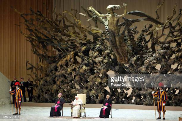 Pope Benedict XVI attends his blessing at the end of his weekly audience at the Paul VI Hall on January 9 2013 in Vatican City Vatican The Pontiff...