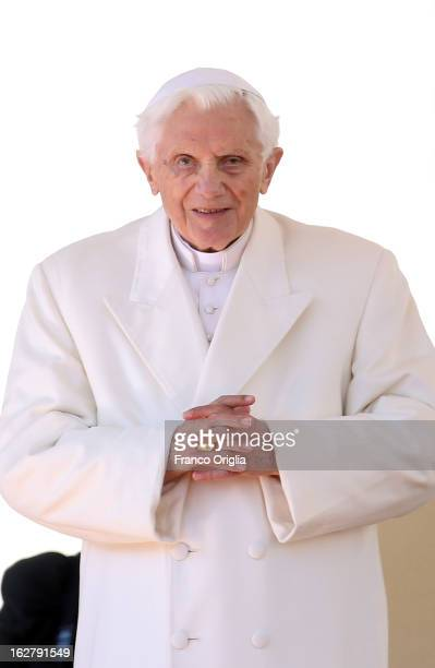 Pope Benedict XVI attends his final general audience in St Peter's Square on February 27 2013 in Vatican City Vatican The Pontiff attended his last...