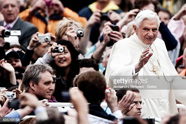 Pope Benedict XVI attends his general weekly audience in St Peter's Square at the Vatican
