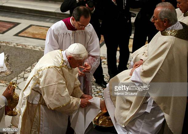 Pope Benedict XVI attends the Feet Washing Ceremony at the StJohn in Laterano Basilica on March 20 2008 in Rome Italy Pope Benedict on Wednesday...
