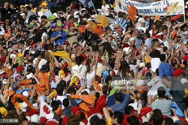 Pope Benedict XVI attends the Saturday Pentecost vigil at Saint Peter's Square on June 3 2006 in Vatican City 350000 people of Ecclesial Ecumenical...
