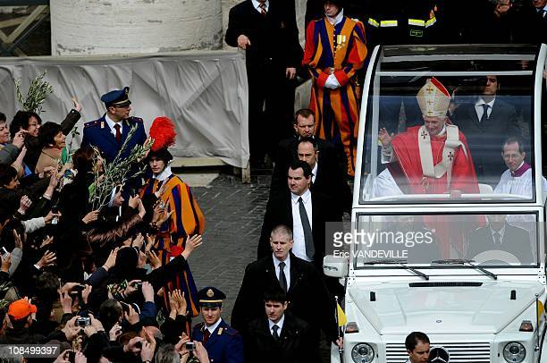 Pope Benedict XVI celebrated Palm Sunday Mass in Saint Peter's square at the VaticanPalm Sunday commemorates Jesus Christ's triumphant entry into...