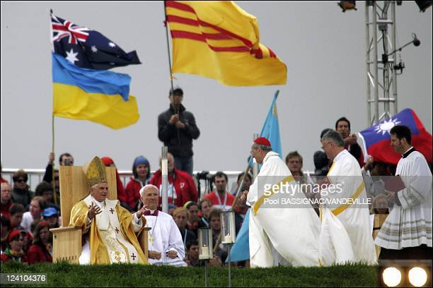 Pope Benedict XVI celebrated the concluding Mass of the World Youth Day at the Marienfeld site near Cologne before one million pilgrims In Germany On...