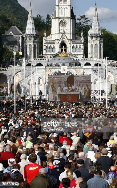 Pope Benedict XVI celebrates a holy mass for sicks and disabled people in front of the Rosary Basilica on September 15 2008 in Lourdes France Pope...