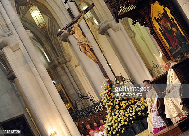 Pope Benedict XVI celebrates a mass at the Almudena Cathedral in Madrid on August 20 2011 during the World Youth Day festivities The pope will hold a...