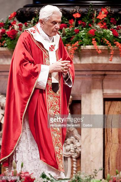 Pope Benedict XVI celebrates a mass in St Peter's Basilca where thirtyeight new archbishops received the pallium a woollen shawl symbolizing their...
