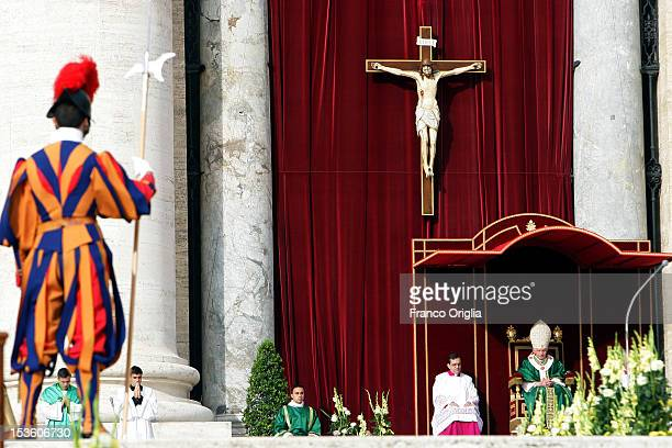 Pope Benedict XVI celebrates a mass in St Peter's Square for the opening of the Synod of Bishops and proclamation of Spanish St John of Avila and...