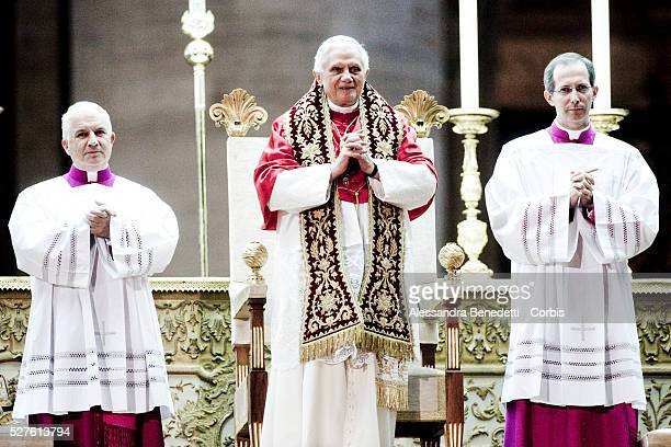 Pope Benedict XVI celebrates an evening vigil service in St Peter's Square at the Vatican to mark the end of the Church's year of the priest on June...