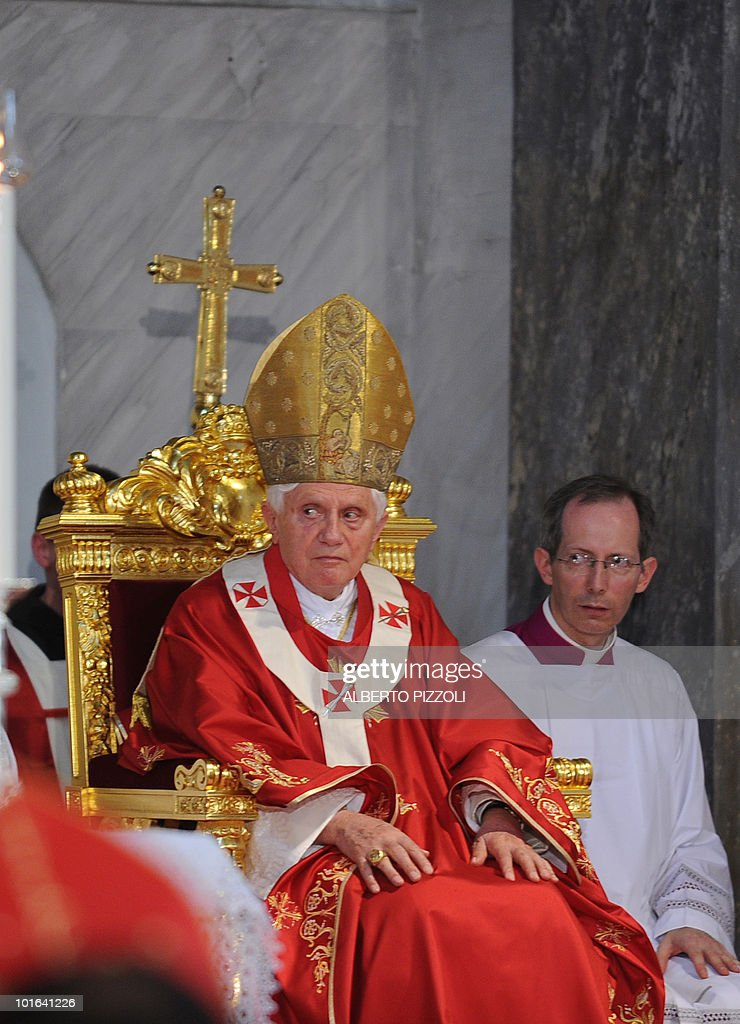 Pope Benedict XVI celebrates mass at Nicosia's Latin Church of the Holy Cross on June 5, 2010, on the second day of his visit to the mainly Greek Orthodox east Mediterranean island.