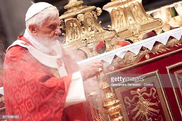 Pope Benedict XVI celebrates St. Peter's and St. Paul's feast in St. Peter's Basilica at the Vatican.Today 44 new Metropolitan Archbishops and...