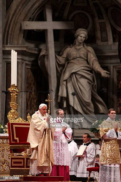 Pope Benedict XVI celelebrates Christmas night mass at St Peter's Basilica on December 25 2011 in Vatican City Vatican