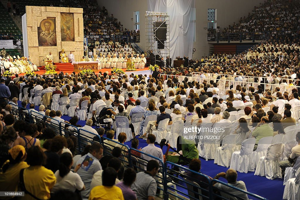 Pope Benedict XVI conducts mass at the Eleftheria Sports Centre in Nicosia on June 6, 2010 on the third and final day of the pontiff's visit to the mostly Greek Orthodox Mediterranean island of Cyprus.