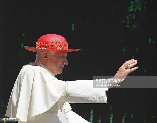 'Pope Benedict XVI delivering the general audience on Saint Peter's Square Vatican City 30th June 2010 '