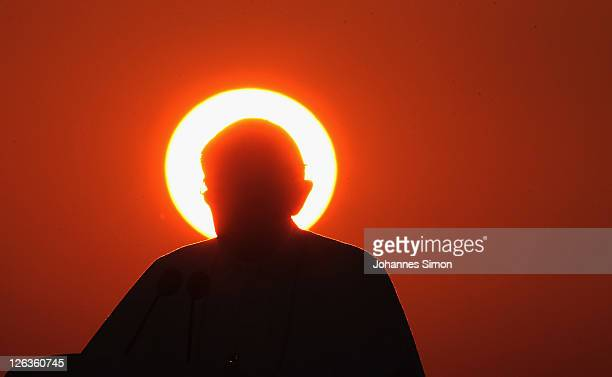 Pope Benedict XVI delivers a speech before leaving Germany at Lahr Black Forest airport on September 25 2011 near Freiburg im Breisgau GermanyThe...