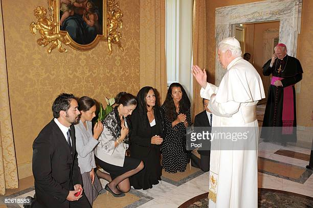 Pope Benedict XVI delivers his blessing to Ingrid Betancourt and her relatives during a meeting at pope's summer residence, on September 1, 2008 in...