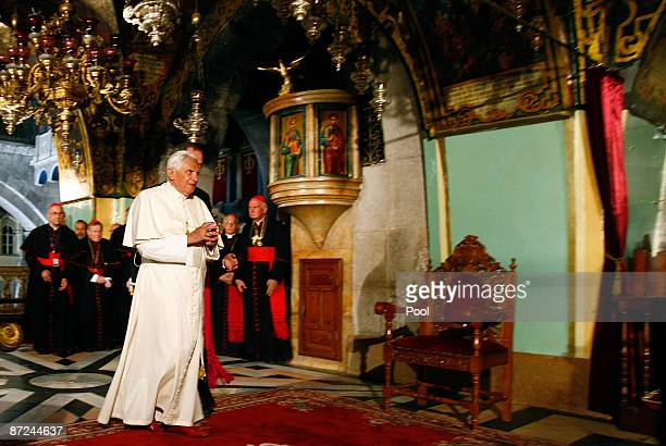 Pope Benedict XVI enters the Golgotha or Calvary the traditional site where Jesus was crucified in the Church of the Holy Sepulchre on May 15 2009 in...