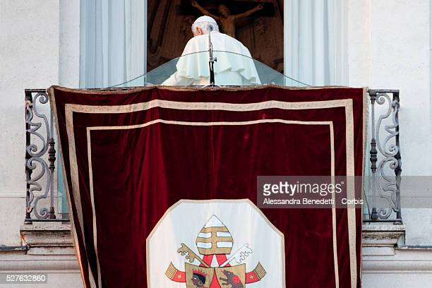 Pope Benedict XVI gives his last speach and blessing from the Balcony of The Vatican Residency of Castel Gandolfo in the outskirt of Rome. After his...