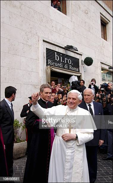 Pope Benedict XVI greets the crowd gathering in front of his former private home in Rome Italy on April 21 2005 The Pontiff former Cardinal Joseph...